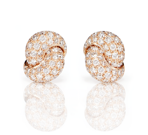 Love Knot Earrings- Pink Gold & Diamond