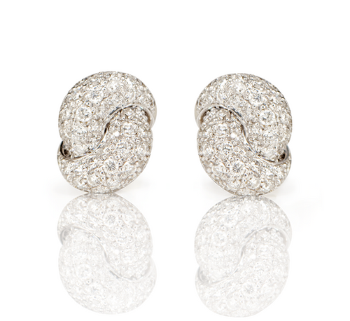 Love Knot Earrings- White Gold & Diamond