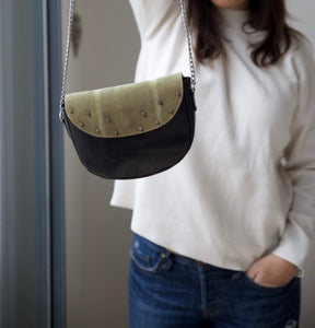 Green leather with furry top shoulder bag