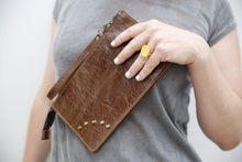 Load image into Gallery viewer, Brown leather mini clutch