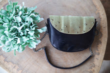 Load image into Gallery viewer, Green leather with furry top shoulder bag