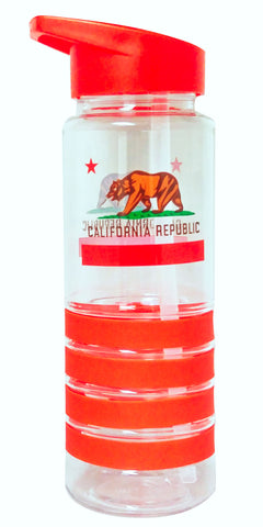 California Flag Red 750ml Plastic Water Bottle