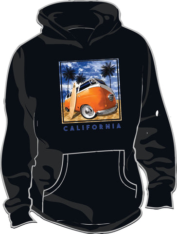 Thick Hoodie w/ VW Bus Surfer CA Design