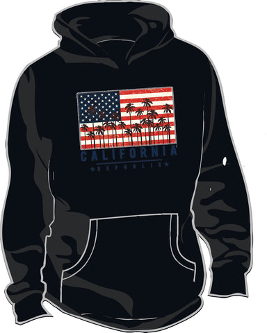 Thick Hoodie w/ USA Flag CA Palms Design
