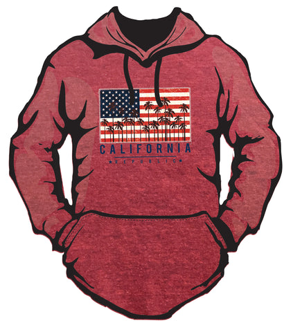 Jersey Lightweight Hoodie w/ USA Flag CA Palms Design