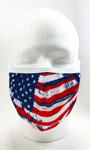 Face Mask w/ USA Flag distressed design