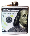$100 Bill Stainless Steel 6 oz Flask
