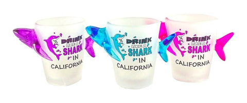 Drink Like a Shark in California Shot Glass Set of 3
