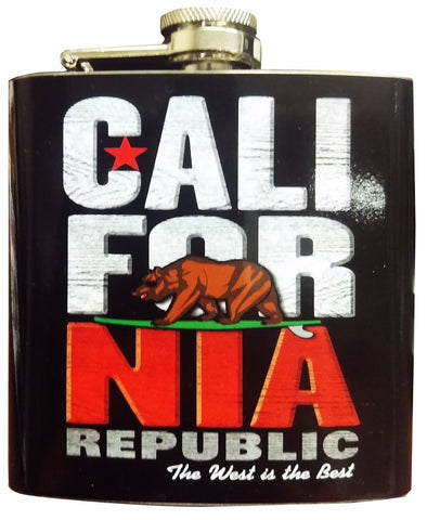 California Stacked Stainless Steel 6 oz Flask