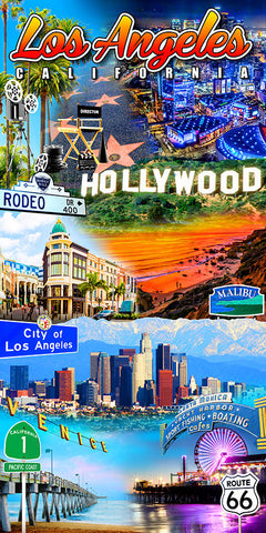 Los Angeles Collage Beach Towel