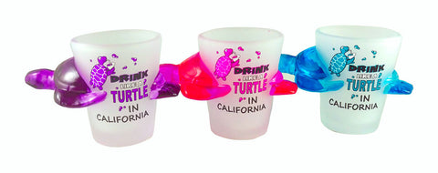 Drink Like a Turtle in California Shot Glass Set of 3