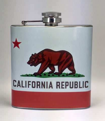 California Bear Flag Stainless Steel 6 oz Flask