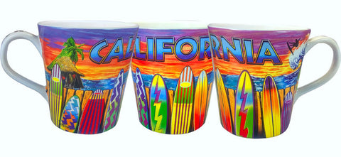 California Surfboard Beach Scene Mug