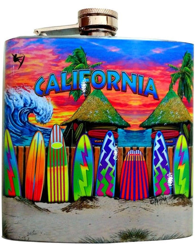 California Surfboards Stainless Steel 6 oz Flask