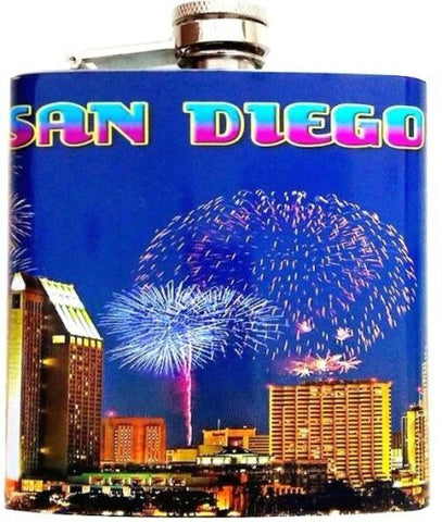 San Diego Skyline Fireworks Stainless Steel 6 oz Flask