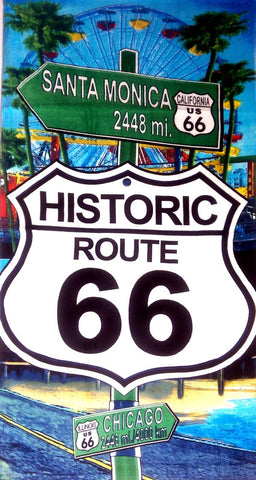 Route 66 Santa Monica Beach Towel