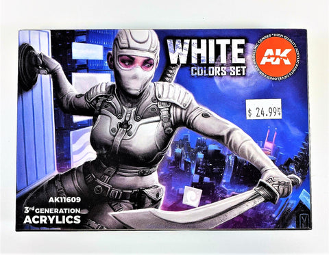 AK Interactive 3rd Generation Modeling Colors Acrylics Set- White Colors AK11609