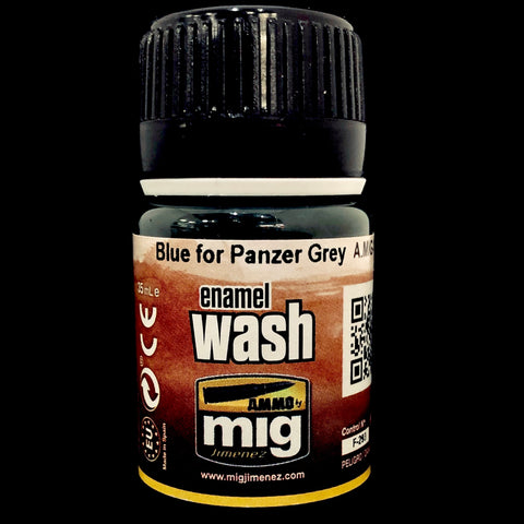 Ammo Enamel Wash-Blue Wash for Panzer Grey