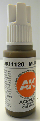 AK Interactive 3rd Generation Acrylic Modeling Colors Mud Brown AK11120