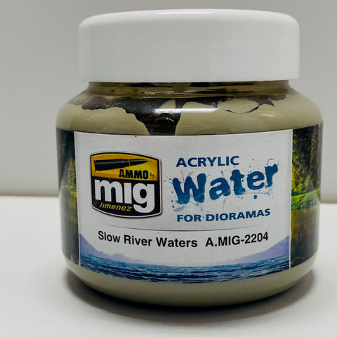 Ammo By Mig Jimenez Diorama Series- Acrylic Water: Slow River Waters A.MIG-2204