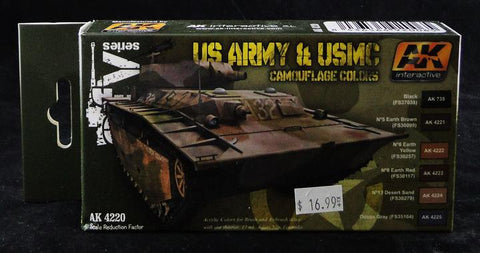AK Interactive Acrylic Paint Set- AFV Series: US Army USMC Camouflage