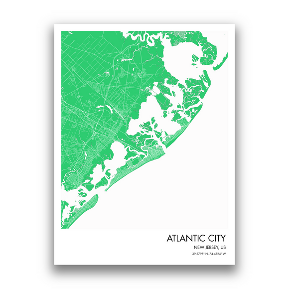 Atlantic City Map, 9 Map Colors, 5 Layouts, Atlantic City Map Poster, Map of Atlantic City