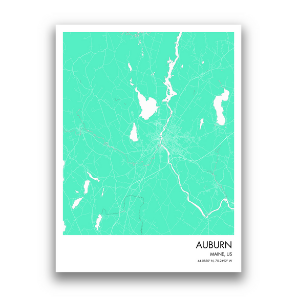 Auburn Map, 9 Map Colors, 5 Layouts, Auburn Map Poster, Map of Auburn