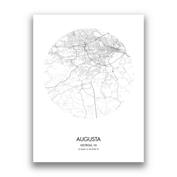 Augusta Map, 9 Map Colors, 5 Layouts, Augusta Map Poster, Map of Augusta