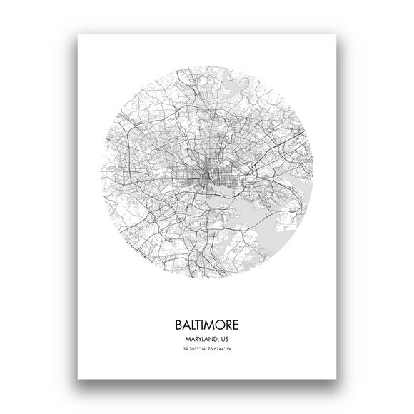 Baltimore Map, 9 Map Colors, 5 Layouts, Baltimore Map Poster, Map of Baltimore