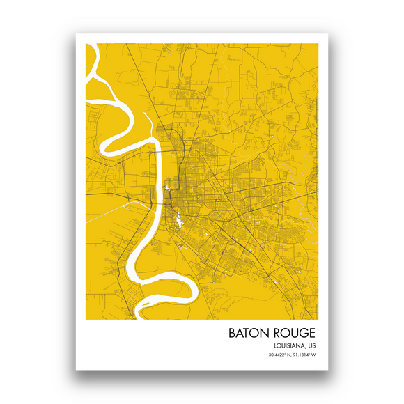 Baton Rouge Map, 9 Map Colors, 5 Layouts, Baton Rouge Map Poster, Map of Baton Rouge