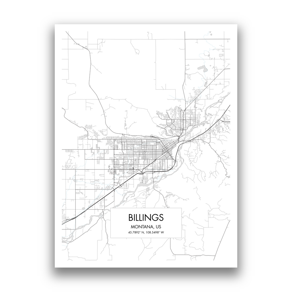 Billings Map, 9 Map Colors, 5 Layouts, Billings Map Poster, Map of Billings