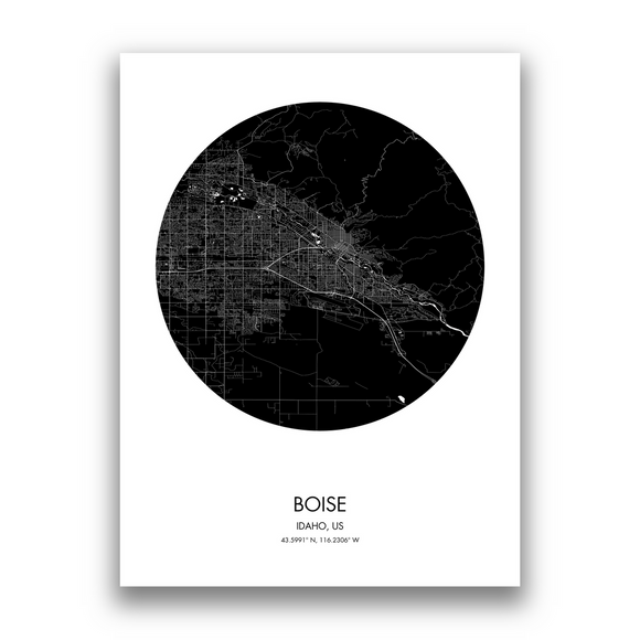 Boise Map, 9 Map Colors, 5 Layouts, Boise Map Poster, Map of Boise