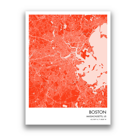 Boston Map, 9 Map Colors, 5 Layouts, Boston Map Poster, Map of Boston