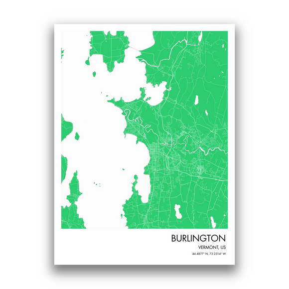 Burlington Map, 9 Map Colors, 5 Layouts, Burlington Map Poster, Map of Burlington