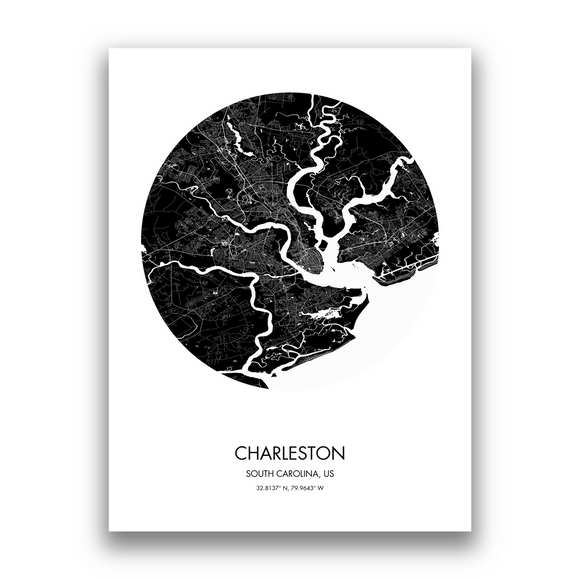 Charleston Map, 9 Map Colors, 5 Layouts, Charleston Map Poster, Map of Charleston