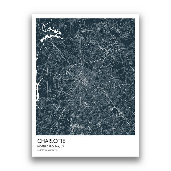 Charlotte Map, 9 Map Colors, 5 Layouts, Charlotte Map Poster, Map of Charlotte