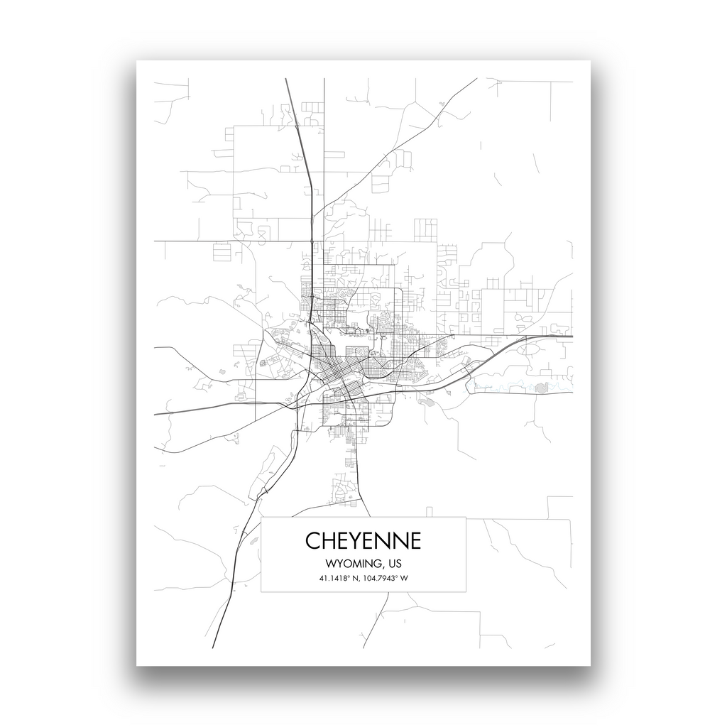 Cheyenne Map, 9 Map Colors, 5 Layouts, Cheyenne Map Poster, Map of Cheyenne