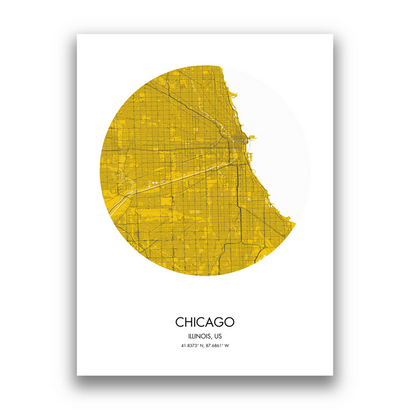 Chicago Map, 9 Map Colors, 5 Layouts, Chicago Map Poster, Map of Chicago