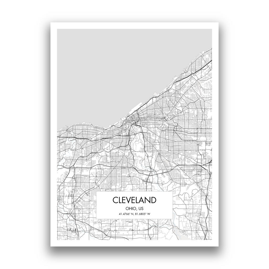 Cleveland Map, 9 Map Colors, 5 Layouts, Cleveland Map Poster, Map of Cleveland