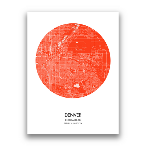 Denver Map, 9 Map Colors, 5 Layouts, Denver Map Poster, Map of Denver