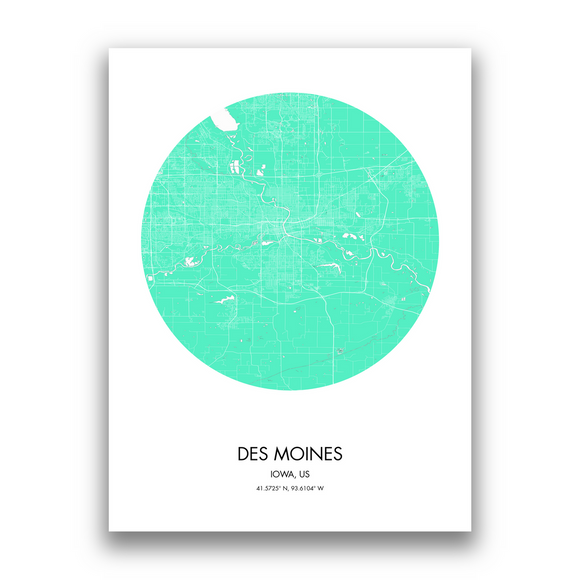 Des Moines Map, 9 Map Colors, 5 Layouts, Des Moines Map Poster, Map of Des Moines