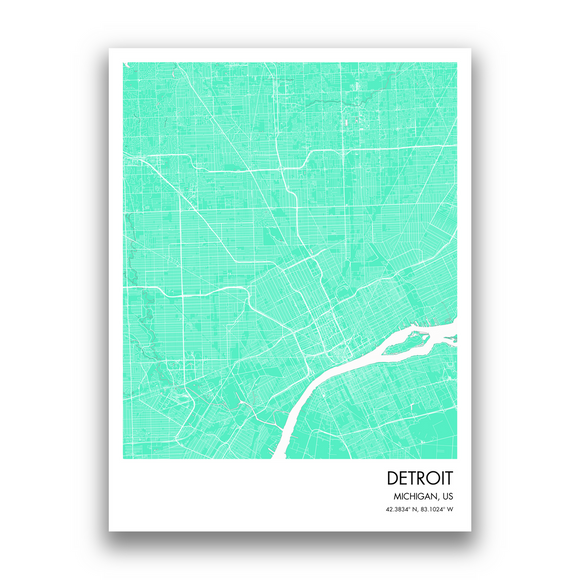 Detroit Map, 9 Map Colors, 5 Layouts, Detroit Map Poster, Map of Detroit
