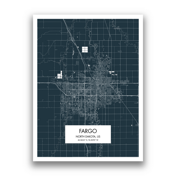 Fargo Map, 9 Map Colors, 5 Layouts, Fargo Map Poster, Map of Fargo