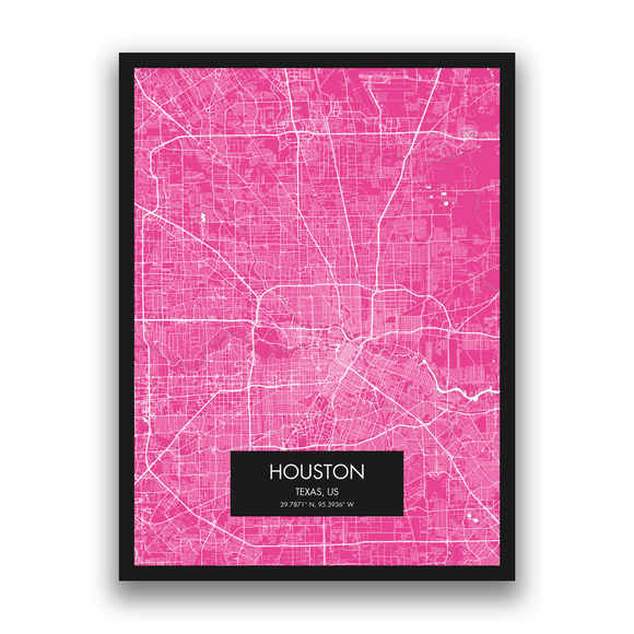 Houston Map, 9 Map Colors, 5 Layouts, Houston Map Poster, Map of Houston