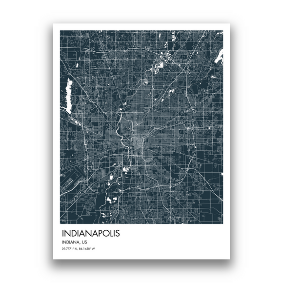 Indianapolis Map, 9 Map Colors, 5 Layouts, Indianapolis Map Poster, Map of Indianapolis