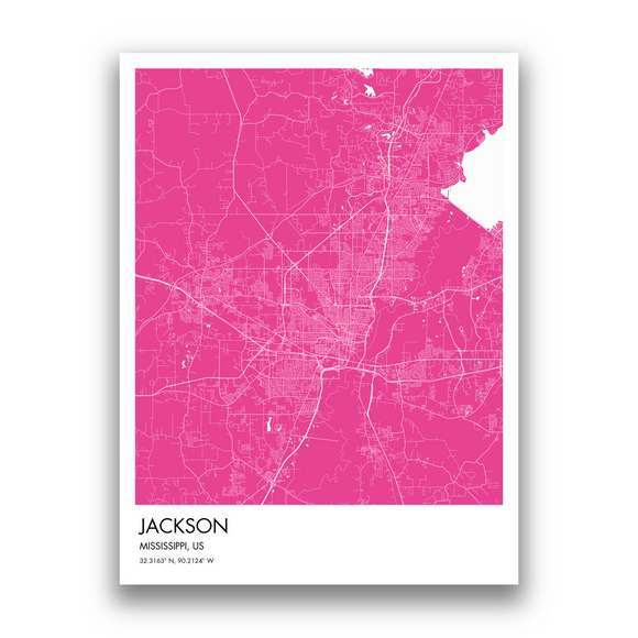 Jackson Map, 9 Map Colors, 5 Layouts, Jackson Map Poster, Map of Jackson