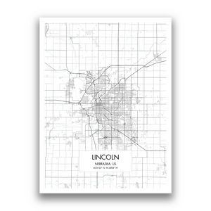 Lincoln Map, 9 Map Colors, 5 Layouts, Lincoln Map Poster, Map of Lincoln