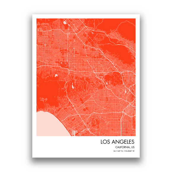 Los Angeles Map, 9 Map Colors, 5 Layouts, Los Angeles Map Poster, Map of Los Angeles