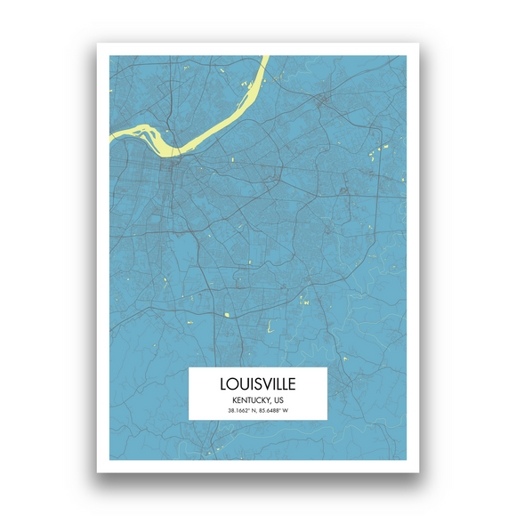 Louisville Map, 9 Map Colors, 5 Layouts, Louisville Map Poster, Map of Louisville