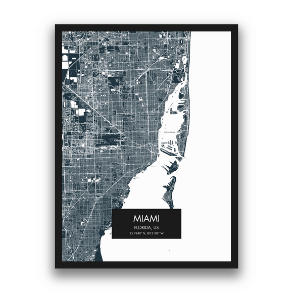 Miami Map, 9 Map Colors, 5 Layouts, Miami Map Poster, Map of Miami